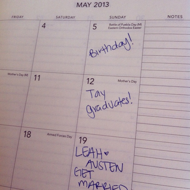 Filling out my new planner (!!!!) and looking forward to an exciting spring full of celebrations!