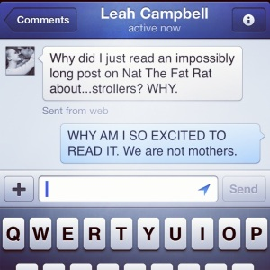Proof that Leah and I will read anything one of our favorite bloggers writes, even if it isn't relevant to our lives :)