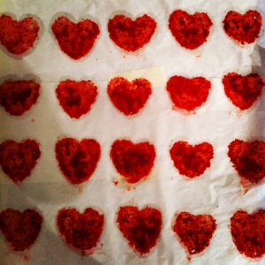 I work at a bakery and we are starting to work on some new ideas for our Valentine's Day treats. This is the wax paper that Red Velvet Whoopie Pie hearts were on. It's the little things.